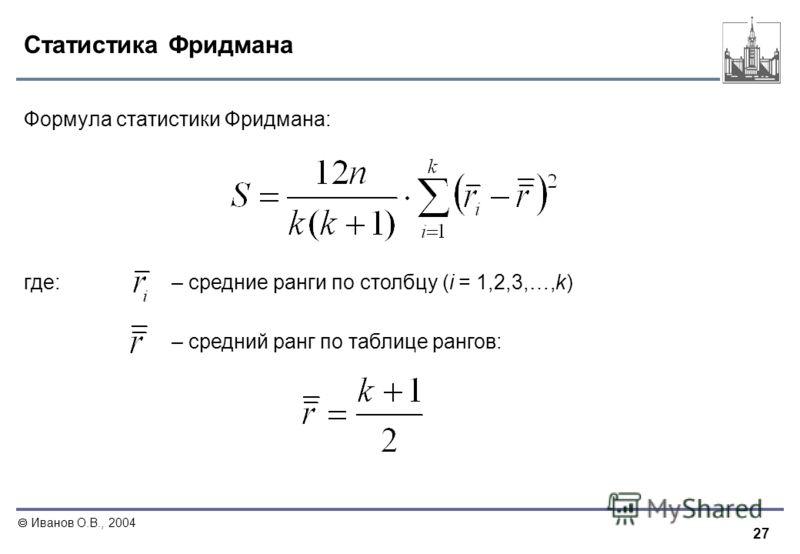 27 Иванов О.В., 2004 Статистика Фридмана Формула статистики Фридмана: где: – средние ранги по столбцу (i = 1,2,3,…,k) – средний ранг по таблице рангов: