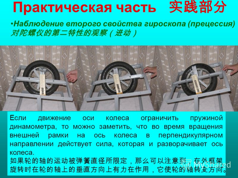 Практическая часть Наблюдение второго свойства гироскопа (прецессия) Если движение оси колеса ограничить пружиной динамометра, то можно заметить, что во время вращения внешней рамки на ось колеса в перпендикулярном направлении действует сила, которая