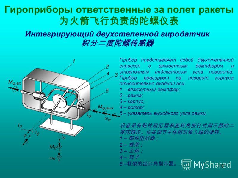 Прибор представляет собой двухстепенной гироскоп с вязкостным демпфером и стрелочным индикатором угла поворота. Прибор реагирует на поворот корпуса относительно входной оси. 1 – вязкостный демпфер; 2 – рамка; 3 – корпус; 4 – ротор; 5 – указатель выхо