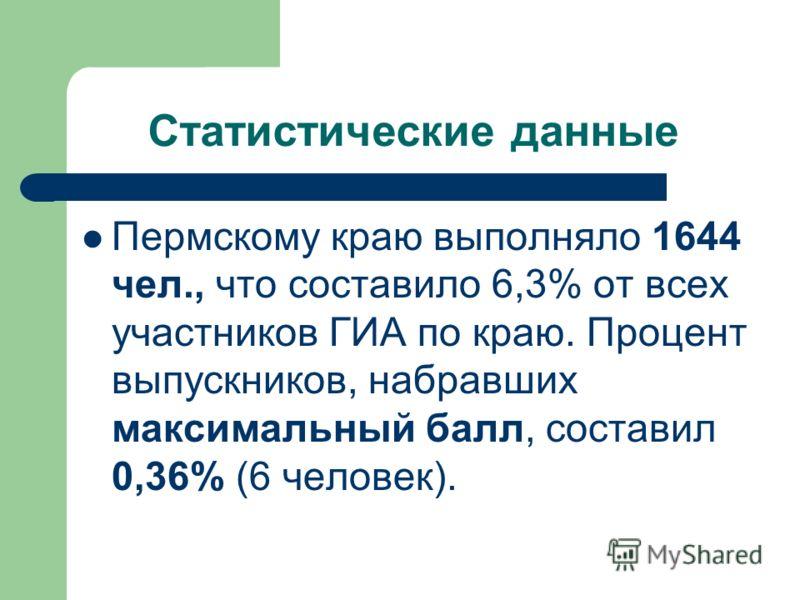 Статистические данные Пермскому краю выполняло 1644 чел., что составило 6,3% от всех участников ГИА по краю. Процент выпускников, набравших максимальный балл, составил 0,36% (6 человек).