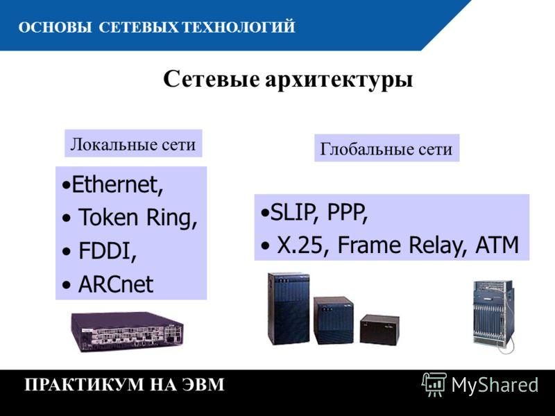 К ОСНОВЫ СЕТЕВЫХ ТЕХНОЛОГИЙ ПРАКТИКУМ НА ЭВМ Ethernet, Token Ring, FDDI, ARCnet Локальные сети SLIP, PPP, X.25, Frame Relay, ATM Глобальные сети Сетевые архитектуры
