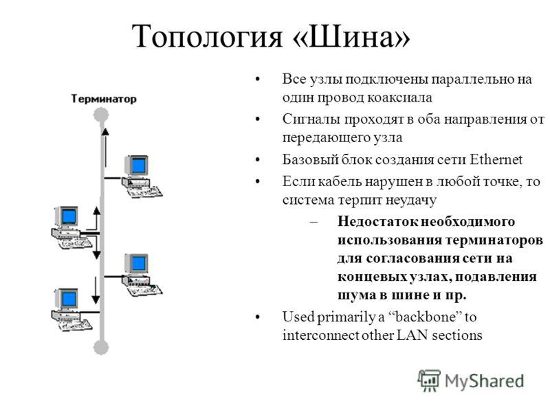 Топология «Шина» Все узлы подключены параллельно на один провод коаксиала Сигналы проходят в оба направления от передающего узла Базовый блок создания сети Ethernet Если кабель нарушен в любой точке, то система терпит неудачу –Недостаток необходимого