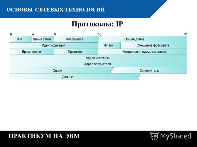 К ОСНОВЫ СЕТЕВЫХ ТЕХНОЛОГИЙ ПРАКТИКУМ НА ЭВМ Протоколы: IP
