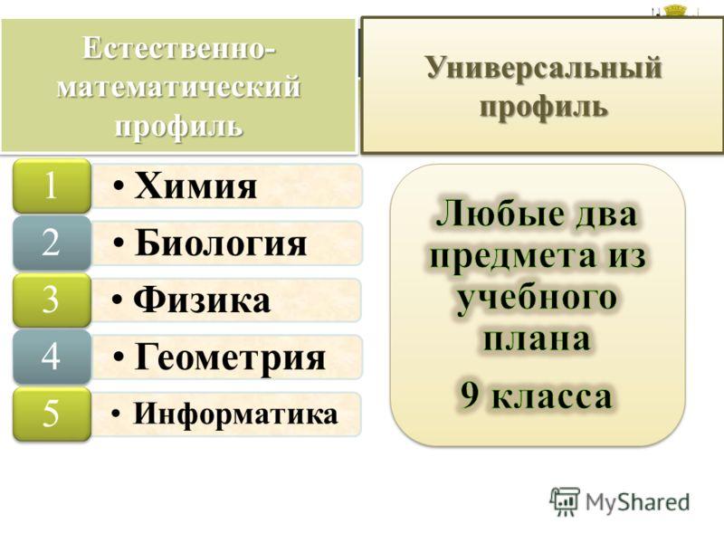 Естественно- математический профиль Химия 1 Биология 2 Физика 3 Геометрия 4 Информатика 5 Универсальный профиль