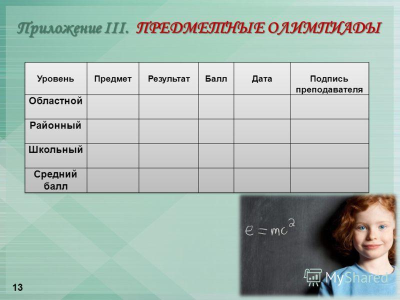 Приложение III. ПРЕДМЕТНЫЕ ОЛИМПИАДЫ 13