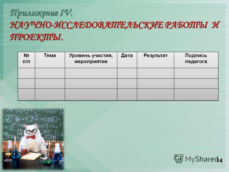 Приложение IV. НАУЧНО-ИССЛЕДОВАТЕЛЬСКИЕ РАБОТЫ И ПРОЕКТЫ. 14