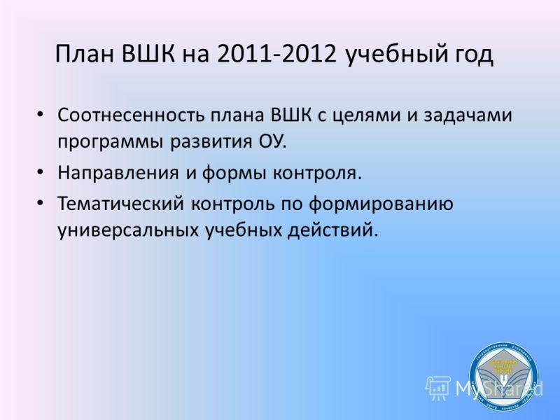 План ВШК на 2011-2012 учебный год Соотнесенность плана ВШК с целями и задачами программы развития ОУ. Направления и формы контроля. Тематический контроль по формированию универсальных учебных действий.