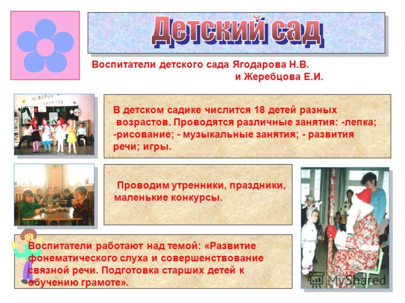 Воспитатели детского сада Ягодарова Н.В. и Жеребцова Е.И. В детском садике числится 18 детей разных возрастов. Проводятся различные занятия: -лепка; -рисование; - музыкальные занятия; - развития речи; игры. Воспитатели работают над темой: «Развитие ф