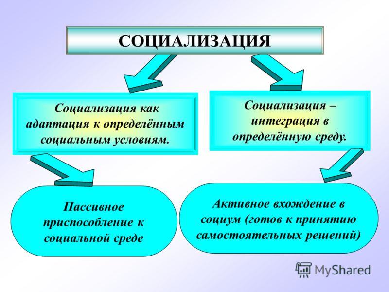 Социализация – интеграция в определённую среду. Социализация как адаптация к определённым социальным условиям. СОЦИАЛИЗАЦИЯ Пассивное приспособление к социальной среде Активное вхождение в социум (готов к принятию самостоятельных решений)