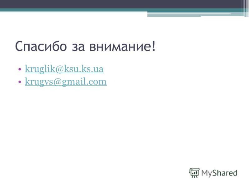 Спасибо за внимание! kruglik@ksu.ks.ua krugvs@gmail.com