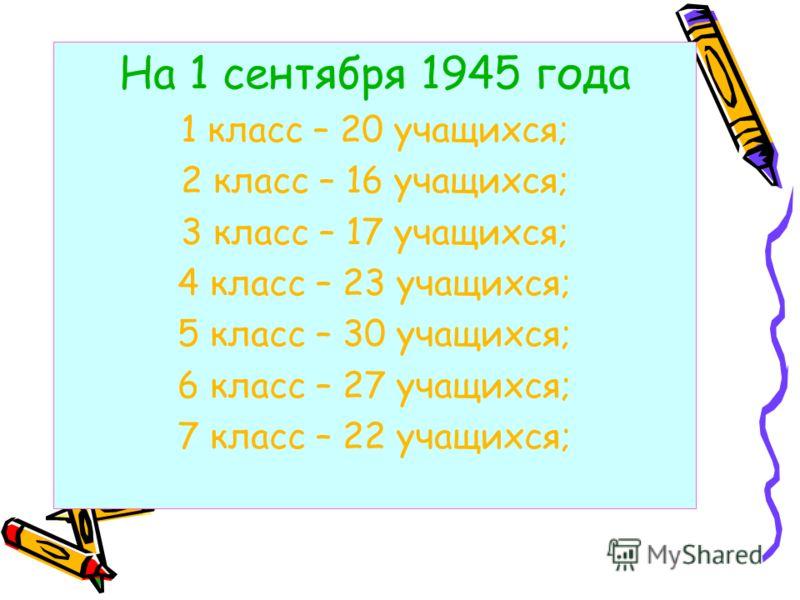 На 1 сентября 1945 года 1 класс – 20 учащихся; 2 класс – 16 учащихся; 3 класс – 17 учащихся; 4 класс – 23 учащихся; 5 класс – 30 учащихся; 6 класс – 27 учащихся; 7 класс – 22 учащихся;