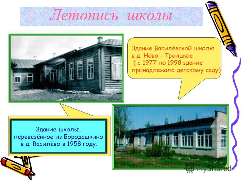 Летопись школы Здание школы, перевезённое из Бородашкино в д. Василёво в 1958 году. Здание Василёвской школы в д. Ново - Троицкое ( с 1977 по 1998 здание принадлежало детскому саду)