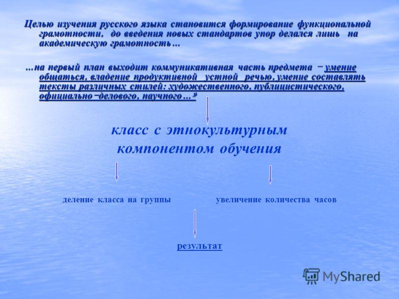 Целью изучения русского языка становится формирование функциональной грамотности, до введения новых стандартов упор делался лишь на академическую грамотность … … на первый план выходит коммуникативная часть предмета – умение общаться, владение продук