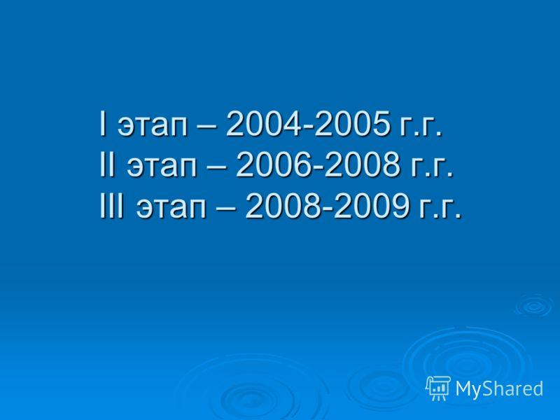 I этап – 2004-2005 г.г. II этап – 2006-2008 г.г. III этап – 2008-2009 г.г.