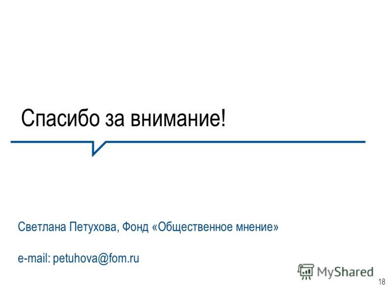 18 Спасибо за внимание! Светлана Петухова, Фонд «Общественное мнение» e-mail: petuhova@fom.ru