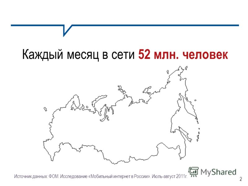 2 Источник данных: ФОМ. Исследование «Мобильный интернет в России». Июль-август 2011г. Каждый месяц в сети 52 млн. человек