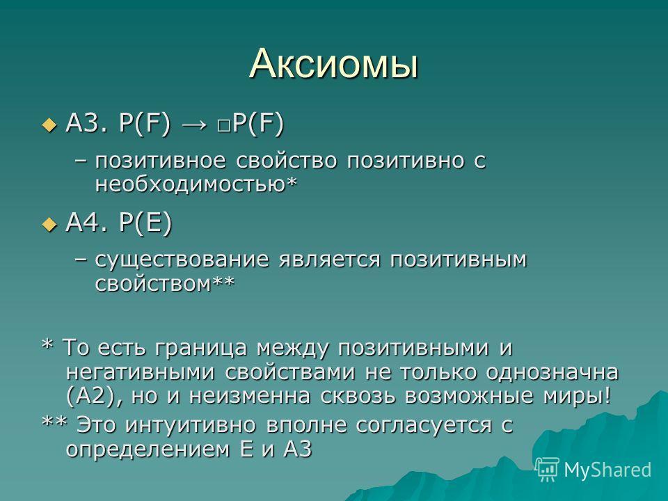 Аксиомы А3. P(F) P(F) А3. P(F) P(F) –позитивное свойство позитивно с необходимостью * А4. Р(E) А4. Р(E) –существование является позитивным свойством ** * То есть граница между позитивными и негативными свойствами не только однозначна (А2), но и неизм