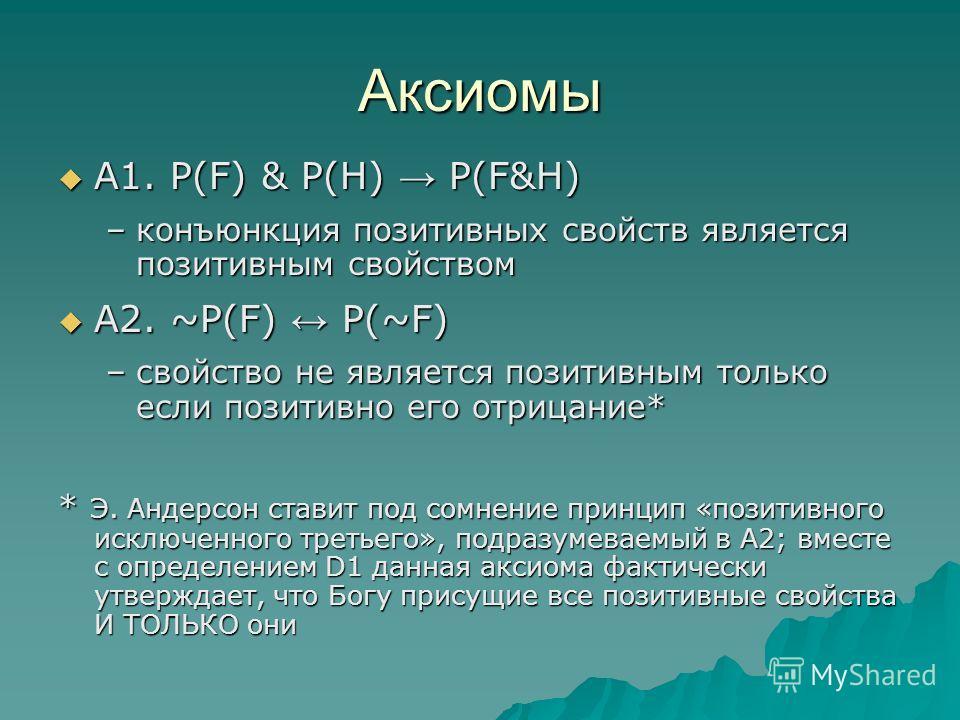 Аксиомы А1. P(F) & P(Н) Р(F&Н) А1. P(F) & P(Н) Р(F&Н) –конъюнкция позитивных свойств является позитивным свойством А2. ~P(F) P(~F) А2. ~P(F) P(~F) –свойство не является позитивным только если позитивно его отрицание* * Э. Андерсон ставит под сомнение