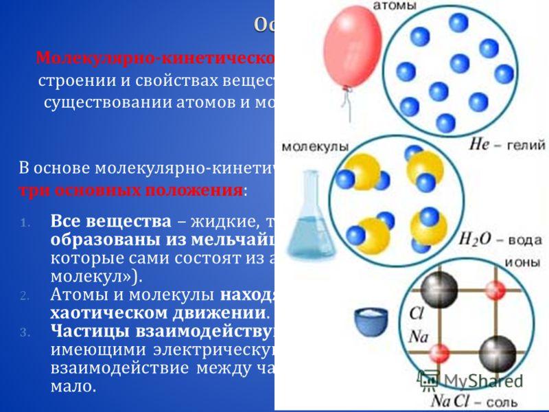 Молекулярно - кинетической теорией называют учение о строении и свойствах вещества на основе представления о существовании атомов и молекул как наименьших частиц химического вещества. В основе молекулярно - кинетической теории лежат три основных поло