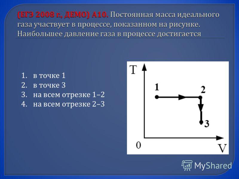 1.в точке 1 2.в точке 3 3.на всем отрезке 1–2 4.на всем отрезке 2–3