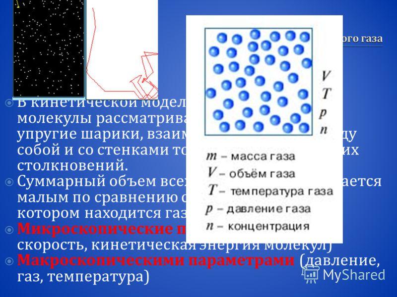 В кинетической модели идеального газа молекулы рассматриваются как идеально упругие шарики, взаимодействующие между собой и со стенками только во время упругих столкновений. Суммарный объем всех молекул предполагается малым по сравнению с объемом сос