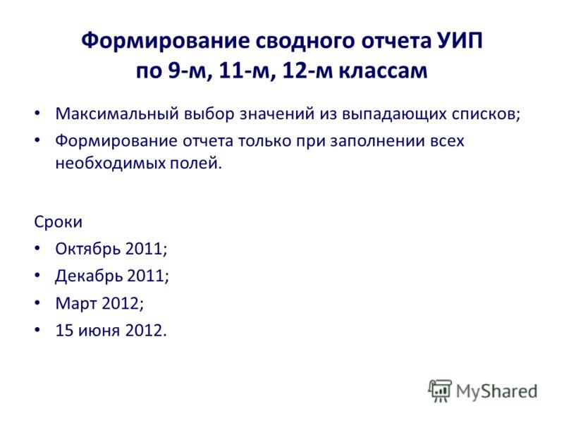 Формирование сводного отчета УИП по 9-м, 11-м, 12-м классам Максимальный выбор значений из выпадающих списков; Формирование отчета только при заполнении всех необходимых полей. Сроки Октябрь 2011; Декабрь 2011; Март 2012; 15 июня 2012.