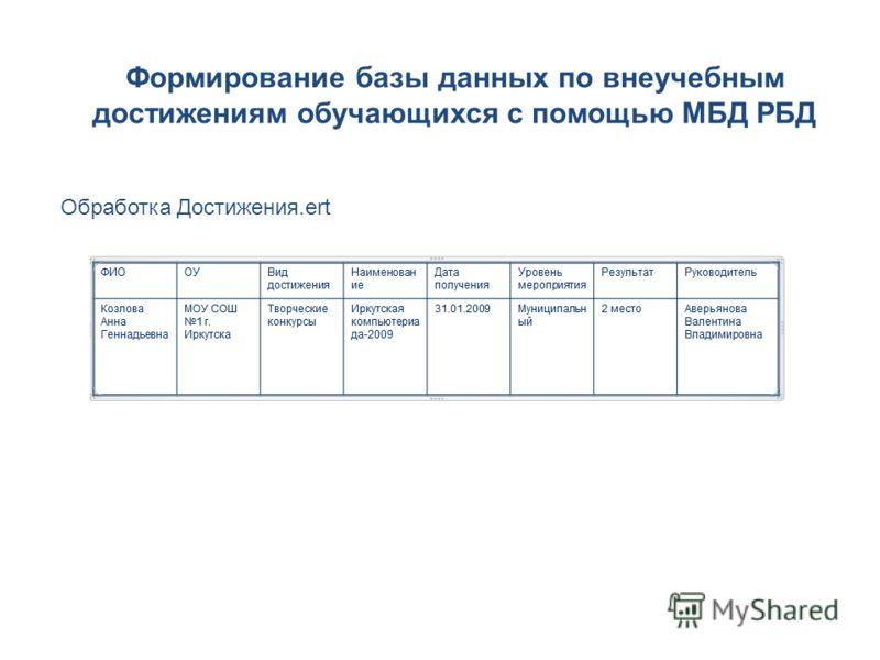 Формирование базы данных по внеучебным достижениям обучающихся с помощью МБД РБД Обработка Достижения.ert