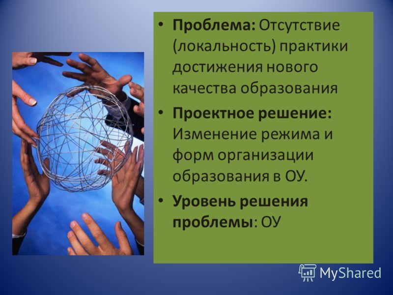 Проблема: Отсутствие (локальность) практики достижения нового качества образования Проектное решение: Изменение режима и форм организации образования в ОУ. Уровень решения проблемы: ОУ