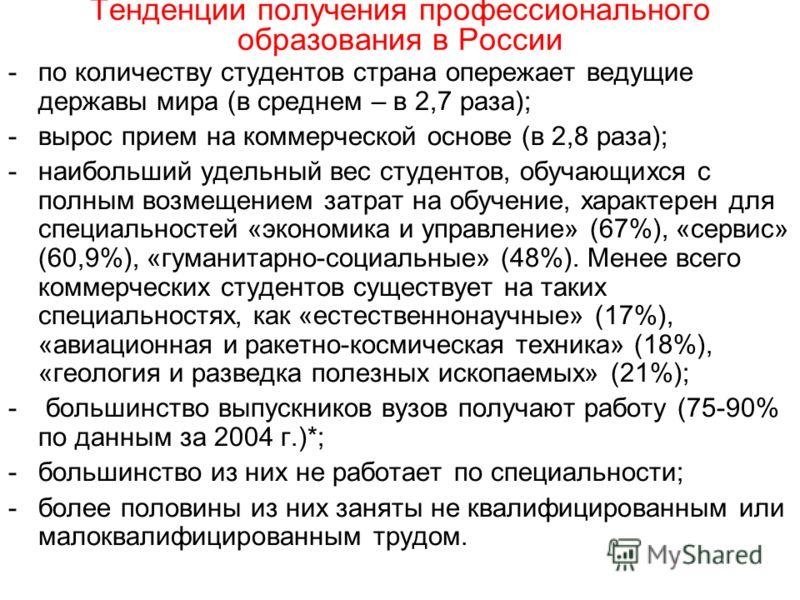 Тенденции получения профессионального образования в России -по количеству студентов страна опережает ведущие державы мира (в среднем – в 2,7 раза); -вырос прием на коммерческой основе (в 2,8 раза); -наибольший удельный вес студентов, обучающихся с по