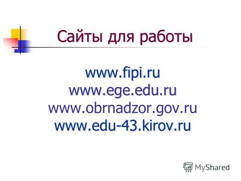 Сайты для работы www.fipi.ru www.ege.edu.ru www.edu-43.kirov.ru Сайты для работы www.fipi.ru www.ege.edu.ru www.obrnadzor.gov.ru www.edu-43.kirov.ru