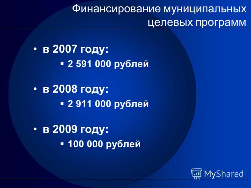 Финансирование муниципальных целевых программ в 2007 году: 2 591 000 рублей в 2008 году: 2 911 000 рублей в 2009 году: 100 000 рублей