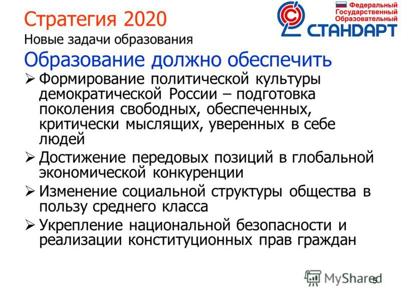 5 Стратегия 2020 Новые задачи образования Образование должно обеспечить Формирование политической культуры демократической России – подготовка поколения свободных, обеспеченных, критически мыслящих, уверенных в себе людей Достижение передовых позиций