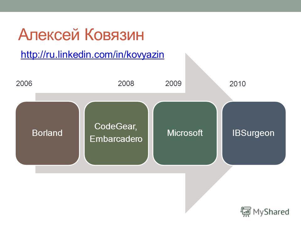 Алексей Ковязин Borland CodeGear, Embarcadero MicrosoftIBSurgeon http://ru.linkedin.com/in/kovyazin 200620082009 2010