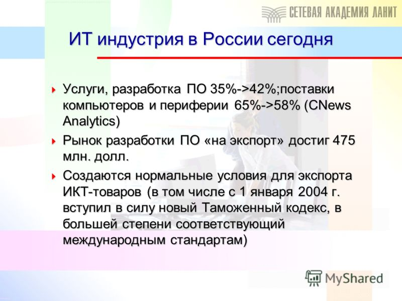 ИТ индустрия в России сегодня Услуги, разработка ПО 35%->42%;поставки компьютеров и периферии 65%->58% (CNews Analytics) Услуги, разработка ПО 35%->42%;поставки компьютеров и периферии 65%->58% (CNews Analytics) Рынок разработки ПО «на экспорт» дости
