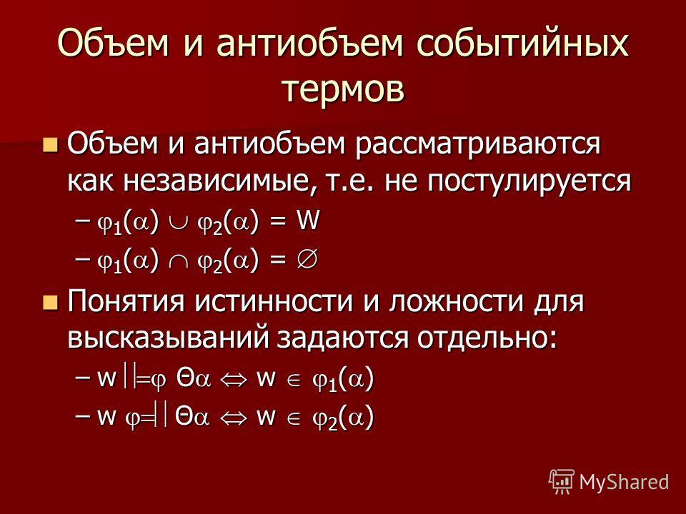 Объем и антиобъем рассматриваются как независимые, т.е. не постулируется Объем и антиобъем рассматриваются как независимые, т.е. не постулируется – 1 ( ) 2 ( ) = W – 1 ( ) 2 ( ) = – 1 ( ) 2 ( ) = Понятия истинности и ложности для высказываний задаютс