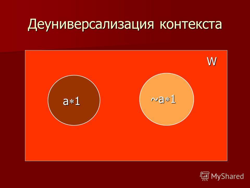 Деуниверсализация контекста W a 1 ~a 1