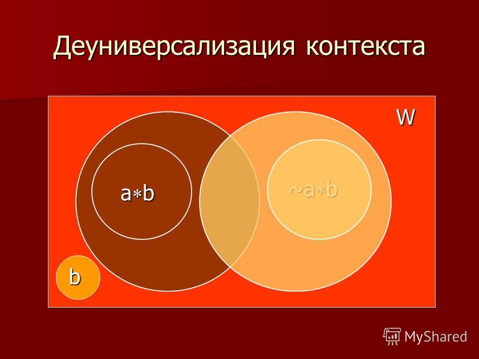 Деуниверсализация контекста W a b ~a b b