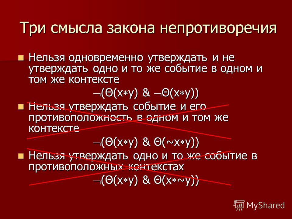 Три смысла закона непротиворечия Нельзя одновременно утверждать и не утверждать одно и то же событие в одном и том же контексте Нельзя одновременно утверждать и не утверждать одно и то же событие в одном и том же контексте (Θ(x y) & Θ(x y)) (Θ(x y) &