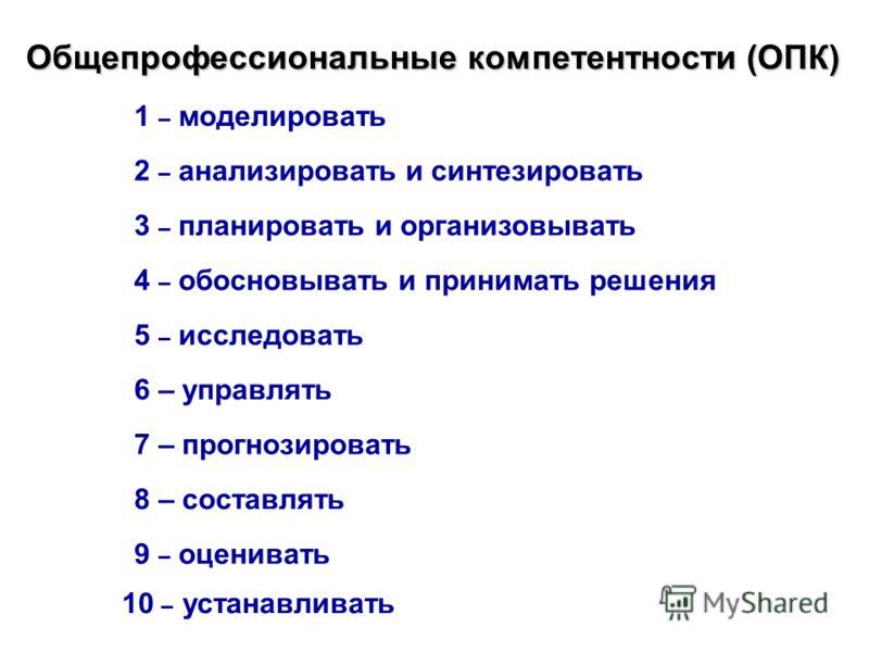 Общепрофессиональные компетентности (ОПК) 1 – моделировать 2 – анализировать и синтезировать 3 – планировать и организовывать 4 – обосновывать и принимать решения 5 – исследовать 6 – управлять 7 – прогнозировать 8 – составлять 9 – оценивать 10 – уста