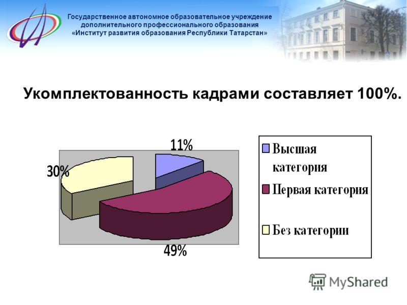 Укомплектованность кадрами составляет 100%. Государственное автономное образовательное учреждение дополнительного профессионального образования «Институт развития образования Республики Татарстан»