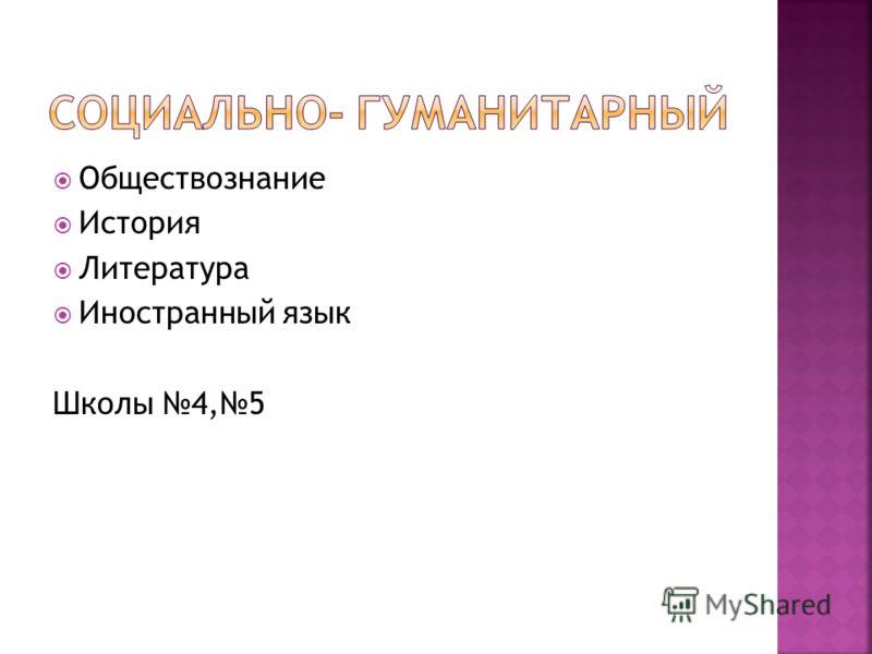 Обществознание История Литература Иностранный язык Школы 4,5