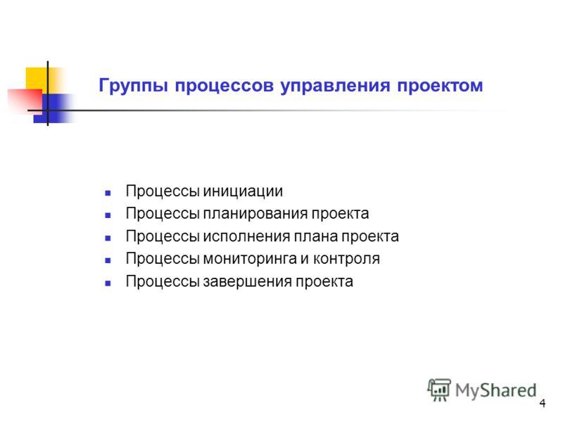 4 Группы процессов управления проектом Процессы инициации Процессы планирования проекта Процессы исполнения плана проекта Процессы мониторинга и контроля Процессы завершения проекта