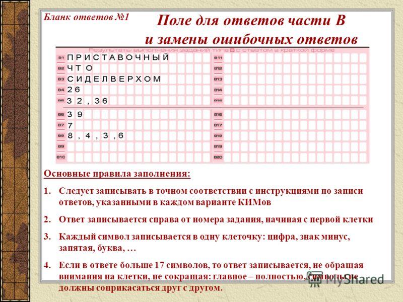 Основные правила заполнения: 1.Следует записывать в точном соответствии с инструкциями по записи ответов, указанными в каждом варианте КИМов 2.Ответ записывается справа от номера задания, начиная с первой клетки 3.Каждый символ записывается в одну кл