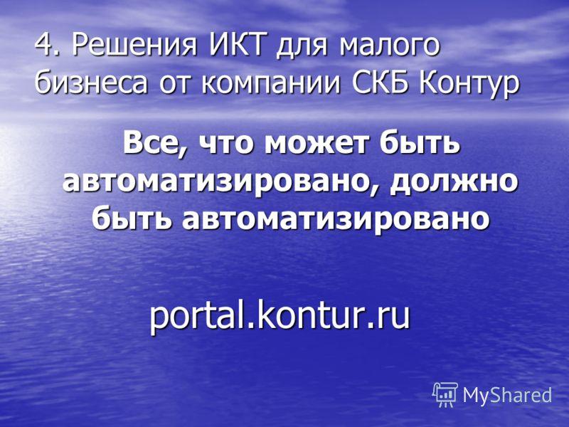 4. Решения ИКТ для малого бизнеса от компании СКБ Контур Все, что может быть автоматизировано, должно быть автоматизировано Все, что может быть автоматизировано, должно быть автоматизированоportal.kontur.ru