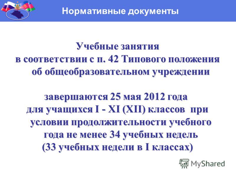 Нормативные документы Учебные занятия Учебные занятия в соответствии с п. 42 Типового положения об общеобразовательном учреждении в соответствии с п. 42 Типового положения об общеобразовательном учреждении завершаются 25 мая 2012 года для учащихся I