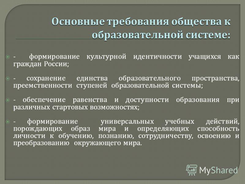 - формирование культурной идентичности учащихся как граждан России ; - сохранение единства образовательного пространства, преемственности ступеней образовательной системы ; - обеспечение равенства и доступности образования при различных стартовых воз