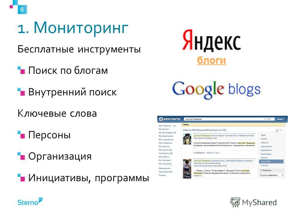 1. Мониторинг Бесплатные инструменты Поиск по блогам Внутренний поиск Ключевые слова Персоны Организация Инициативы, программы 6