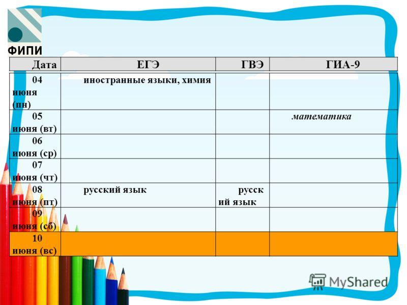 ДатаЕГЭГВЭГИА-9 04 июня (пн) иностранные языки, химия 05 июня (вт) математика 06 июня (ср) 07 июня (чт) 08 июня (пт) русский язык 09 июня (сб) 10 июня (вс)