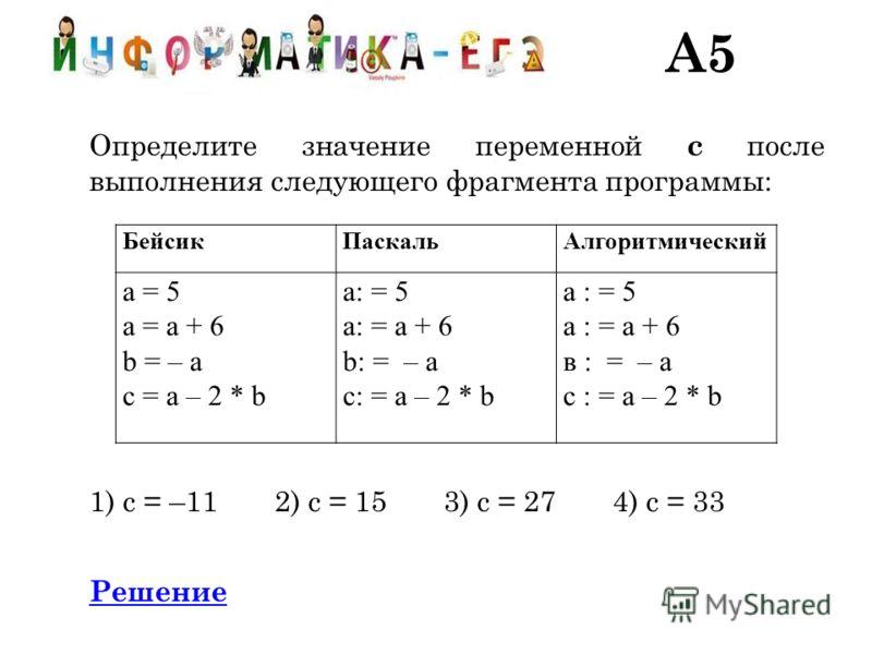 A5 Определите значение переменной c после выполнения следующего фрагмента программы: 1) c = –11 2) c = 15 3) c = 27 4) c = 33 Решение БейсикПаскальАлгоритмический a = 5 a = a + 6 b = – a c = a – 2 * b a: = 5 a: = a + 6 b: = – a c: = a – 2 * b а : = 5