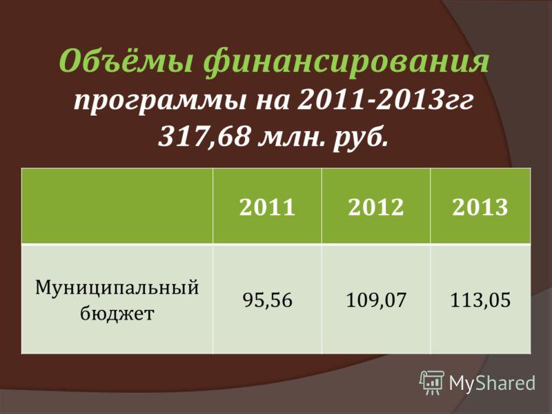 Объёмы финансирования программы на 2011-2013гг 317,68 млн. руб. 201120122013 Муниципальный бюджет 95,56109,07113,05